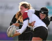 20 February 2020; Molly Flynn of Midlands Area is tackled by Hannah Hodges of Metro Area during the Leinster Rugby U18s Girls Area Blitz at Energia Park in Dublin. Photo by Matt Browne/Sportsfile