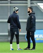 21 February 2020; Head coach Andy Farrell, right, and Jonathan Sexton during Ireland Rugby squad training at the IRFU High Performance Centre at the Sport Ireland Campus in Dublin. Photo by Seb Daly/Sportsfile