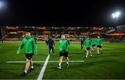21 February 2020; Ireland players Thomas Clarkson, left, and Charlie Ward walk the pitch prior to the Six Nations U20 Rugby Championship match between England and Ireland at Franklin's Gardens in Northampton, England. Photo by Brendan Moran/Sportsfile