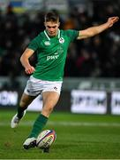 21 February 2020; Jack Crowley of Ireland kicks a penalty during the Six Nations U20 Rugby Championship match between England and Ireland at Franklin's Gardens in Northampton, England. Photo by Brendan Moran/Sportsfile