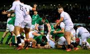 21 February 2020; David McCann of Ireland scores a try which was subsequently disallowed for a knock on during the Six Nations U20 Rugby Championship match between England and Ireland at Franklin's Gardens in Northampton, England. Photo by Brendan Moran/Sportsfile