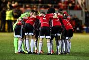 21 February 2020; Derry City players huddle prior to the SSE Airtricity League Premier Division match between Derry City and Finn Harps at Ryan McBride Brandywell Stadium in Derry. Photo by Oliver McVeigh/Sportsfile