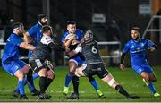 21 February 2020; Cian Kelleher of Leinster is tackled by Dan Lydiate, right, and Scott Otten of Ospreys during the Guinness PRO14 Round 12 match between Ospreys and Leinster at The Gnoll in Neath, Wales. Photo by Ramsey Cardy/Sportsfile