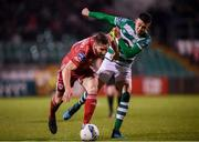 21 February 2020; Gearóid Morrissey of Cork City in action against Gary O'Neill of Shamrock Rovers during the SSE Airtricity League Premier Division match between Shamrock Rovers and Cork City at Tallaght Stadium in Dublin. Photo by Stephen McCarthy/Sportsfile