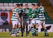 21 February 2020; Graham Burke, centre, of Shamrock Rovers celebrates with team-mates after scoring his side's first goal during the SSE Airtricity League Premier Division match between Shamrock Rovers and Cork City at Tallaght Stadium in Dublin. Photo by Stephen McCarthy/Sportsfile
