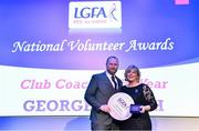 21 February 2020; George Leetch, representing the St Nathy's club in Sligo, is presented with the Club Coach of the Year award by Ladies Gaelic Football Association President Marie Hickey at the 2019 LGFA Volunteer of the Year awards night at Croke Park in Dublin. Photo by Piaras Ó Mídheach/Sportsfile