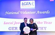 21 February 2020; Ger McCarthy, Co. Cork, is presented with the Local Journalist of the Year award by Ladies Gaelic Football Association President Marie Hickey at the 2019 LGFA Volunteer of the Year awards night at Croke Park in Dublin. Photo by Piaras Ó Mídheach/Sportsfile