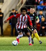 21 February 2020; Walter Figueira of Derry City in action against Tony McNamee of Finn Harps during the SSE Airtricity League Premier Division match between Derry City and Finn Harps at Ryan McBride Brandywell Stadium in Derry. Photo by Oliver McVeigh/Sportsfile