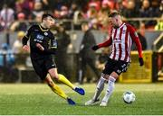 21 February 2020; Leo Donnellan of Finn Harps in action against Tim Nilsen of Derry City during the SSE Airtricity League Premier Division match between Derry City and Finn Harps at Ryan McBride Brandywell Stadium in Derry. Photo by Oliver McVeigh/Sportsfile