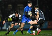 21 February 2020; Jimmy O'Brien of Leinster in action against Luke Morgan, left, and Owen Watkin of Ospreys during the Guinness PRO14 Round 12 match between Ospreys and Leinster at The Gnoll in Neath, Wales. Photo by Ramsey Cardy/Sportsfile