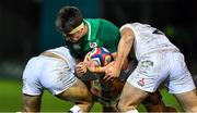 21 February 2020; Brian Deeny of Ireland is tackled by Charlie Watson, left, and Blake Boyland of England during the Six Nations U20 Rugby Championship match between England and Ireland at Franklin's Gardens in Northampton, England. Photo by Brendan Moran/Sportsfile