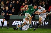 21 February 2020; David McCann of Ireland is tackled by George Barton of England during the Six Nations U20 Rugby Championship match between England and Ireland at Franklin's Gardens in Northampton, England. Photo by Brendan Moran/Sportsfile