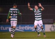 21 February 2020; Graham Burke, left, of Shamrock Rovers celebrates with team-mate Aaron Greene after scoring his side's second goal during the SSE Airtricity League Premier Division match between Shamrock Rovers and Cork City at Tallaght Stadium in Dublin. Photo by Stephen McCarthy/Sportsfile