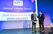 21 February 2020; Eoin Delaney from Crettyard, Co. Laois, winner of the Young Volunteer of the Year award, is interviewed by MC Marty Morrissey at the 2019 LGFA Volunteer of the Year awards night at Croke Park in Dublin. Photo by Piaras Ó Mídheach/Sportsfile