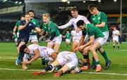21 February 2020; Max O'Reilly of Ireland scores his side's fifth try during the Six Nations U20 Rugby Championship match between England and Ireland at Franklin's Gardens in Northampton, England. Photo by Brendan Moran/Sportsfile