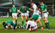 21 February 2020; Ireland players celebrate after team-mate Max O'Reilly scored their side's fifth try during the Six Nations U20 Rugby Championship match between England and Ireland at Franklin's Gardens in Northampton, England. Photo by Brendan Moran/Sportsfile