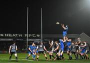 21 February 2020; Scott Fardy of Leinster rises highest to claim possession from a line-out during the Guinness PRO14 Round 12 match between Ospreys and Leinster at The Gnoll in Neath, Wales. Photo by Ramsey Cardy/Sportsfile