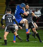 21 February 2020; Ryan Baird of Leinster makes a break during the Guinness PRO14 Round 12 match between Ospreys and Leinster at The Gnoll in Neath, Wales. Photo by Ramsey Cardy/Sportsfile