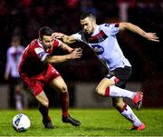 21 February 2020; Michael Duffy of Dundalk in action against Aidan Friel of Shelbourne during the SSE Airtricity League Premier Division match between Shelbourne and Dundalk at Tolka Park in Dublin. Photo by Harry Murphy/Sportsfile