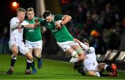 21 February 2020; Thomas Ahern of Ireland is tackled by George Barton, left, and Tom Roebuck during the Six Nations U20 Rugby Championship match between England and Ireland at Franklin's Gardens in Northampton, England. Photo by Brendan Moran/Sportsfile