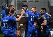 21 February 2020; Cian Kelleher of Leinster, far right, is congratulated by team-mates after scoring his sides third try during the Guinness PRO14 Round 12 match between Ospreys and Leinster at The Gnoll in Neath, Wales. Photo by Ramsey Cardy/Sportsfile