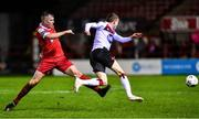 21 February 2020; Daniel Kelly of Dundalk is tackled by Alex O'Hanlon of Shelbourne during the SSE Airtricity League Premier Division match between Shelbourne and Dundalk at Tolka Park in Dublin. Photo by Eóin Noonan/Sportsfile