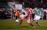 21 February 2020; Jack Byrne of Shamrock Rovers shoots to score his side's third goal depite the attempts of Joe Redmond of Cork City during the SSE Airtricity League Premier Division match between Shamrock Rovers and Cork City at Tallaght Stadium in Dublin. Photo by Stephen McCarthy/Sportsfile