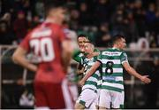 21 February 2020; Jack Byrne of Shamrock Rovers celebrates with team-mates Lee Grace, left, and Ronan Finn after scoring his side's third goal during the SSE Airtricity League Premier Division match between Shamrock Rovers and Cork City at Tallaght Stadium in Dublin. Photo by Stephen McCarthy/Sportsfile