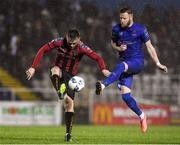 21 February 2020; Michael Barker of Bohemians in action against Kevin O'Connor of Waterford United during the SSE Airtricity League Premier Division match between Waterford and Bohemians at RSC in Waterford. Photo by Matt Browne/Sportsfile