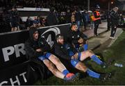 21 February 2020; Leinster players, from left, Peter Dooley, Michael Bent and Jamison Gibson-Park watch on during the final moments of the Guinness PRO14 Round 12 match between Ospreys and Leinster at The Gnoll in Neath, Wales. Photo by Ramsey Cardy/Sportsfile