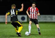 21 February 2020; Ciaran Coll of Derry City in action against Mark Coyle of Finn Harps during the SSE Airtricity League Premier Division match between Derry City and Finn Harps at Ryan McBride Brandywell Stadium in Derry. Photo by Oliver McVeigh/Sportsfile