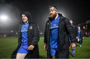 21 February 2020; Leinster players James Tracy, left, and Michael Bent following the Guinness PRO14 Round 12 match between Ospreys and Leinster at The Gnoll in Neath, Wales. Photo by Ramsey Cardy/Sportsfile