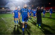 21 February 2020; Leinster captain Scott Fardy of Leinster, centre, and his team-mates following the Guinness PRO14 Round 12 match between Ospreys and Leinster at The Gnoll in Neath, Wales. Photo by Ramsey Cardy/Sportsfile