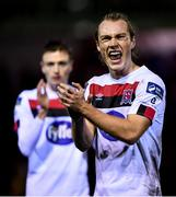 21 February 2020; Greg Sloggett of Dundalk celebrates following the SSE Airtricity League Premier Division match between Shelbourne and Dundalk at Tolka Park in Dublin. Photo by Harry Murphy/Sportsfile