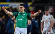 21 February 2020; Dan Kelly of Ireland celebrates victory after the Six Nations U20 Rugby Championship match between England and Ireland at Franklin's Gardens in Northampton, England. Photo by Brendan Moran/Sportsfile