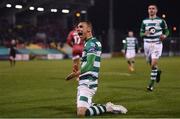 21 February 2020; Graham Burke of Shamrock Rovers celebrates after scoring his side's fifth goal during the SSE Airtricity League Premier Division match between Shamrock Rovers and Cork City at Tallaght Stadium in Dublin. Photo by Stephen McCarthy/Sportsfile