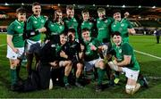 21 February 2020; Ireland players celebrate victory after the Six Nations U20 Rugby Championship match between England and Ireland at Franklin's Gardens in Northampton, England. Photo by Brendan Moran/Sportsfile