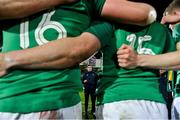 21 February 2020; Ireland head coach Noel McNamara speaks to his players after victory over England in the Six Nations U20 Rugby Championship match between England and Ireland at Franklin's Gardens in Northampton, England. Photo by Brendan Moran/Sportsfile