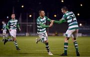 21 February 2020; Graham Burke of Shamrock Rovers celebrates after scoring his side's fifth goal with team-mate Neil Farrugia during the SSE Airtricity League Premier Division match between Shamrock Rovers and Cork City at Tallaght Stadium in Dublin. Photo by Stephen McCarthy/Sportsfile