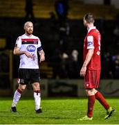 21 February 2020; Chris Shields of Dundalk, left, and Ciarán Kilduff of Shelbourne following the SSE Airtricity League Premier Division match between Shelbourne and Dundalk at Tolka Park in Dublin. Photo by Eóin Noonan/Sportsfile