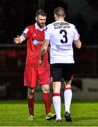 21 February 2020; Ciarán Kilduff of Shelbourne, left, and Brian Gartland of Dundalk following the SSE Airtricity League Premier Division match between Shelbourne and Dundalk at Tolka Park in Dublin. Photo by Eóin Noonan/Sportsfile