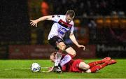 21 February 2020; Sean Hoare of Dundalk in action against Shane Farrell of Shelbourne during the SSE Airtricity League Premier Division match between Shelbourne and Dundalk at Tolka Park in Dublin. Photo by Eóin Noonan/Sportsfile