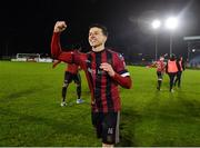 21 February 2020; Bohemians captain Keith Buckley celebrates after the SSE Airtricity League Premier Division match between Waterford United and Bohemians at RSC in Waterford. Photo by Matt Browne/Sportsfile