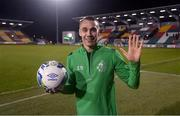 21 February 2020; Graham Burke of Shamrock Rovers who scored five goals holds the match ball following the SSE Airtricity League Premier Division match between Shamrock Rovers and Cork City at Tallaght Stadium in Dublin. Photo by Stephen McCarthy/Sportsfile