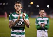21 February 2020; Lee Grace, left, and Dean Williams of Shamrock Rovers of Shamrock Rovers following the SSE Airtricity League Premier Division match between Shamrock Rovers and Cork City at Tallaght Stadium in Dublin. Photo by Stephen McCarthy/Sportsfile