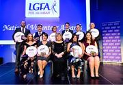 21 February 2020; Ladies Gaelic Football Association President Marie Hickey, front and centre, with award winners, back row, from left, George Leetch, representing the St Nathy's club in Sligo, winner of the Club Coach of the Year award, Galway's John McDermott, winner of  the PRO of the Year award, Shirley Doody from the Kerins O'Rahillys club in Kerry, winner of the Club Committee Officer of the Year award, Eoin Delaney from Crettyard, Co. Laois, winner of the Young Volunteer of the Year award, Ger McCarthy, Co. Cork, winner of the Local Journalist of the Year award and Michael Ryan, from Ballymacarbry in Co. Waterford, winner of the Volunteer Hall of Fame award. Front row, from left,   Ciara Marley, representing St Catherine's, Co. Armagh, winner of the School Coach of the Year award, Galway's Geraldine Heverin winner of the County/Provincial Officer of the Year award, Maggie Skelton, from Aghyaran in Co. Tyrone, winner of the Lulu Carroll award for the Overall Volunteer of the Year, and Ciara Lane from Louth, and representing the Calgary Chieftains Club in Canada, winner of the International Volunteer of the Year award during the 2019 LGFA Volunteer of the Year awards night at Croke Park in Dublin. Photo by Piaras Ó Mídheach/Sportsfile