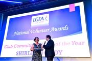 21 February 2020; Shirley Doody from the Kerins O'Rahillys club in Kerry, winner of the Club Committee Officer of the Year award, is interviewed by MC Marty Morrissey, at the 2019 LGFA Volunteer of the Year awards night at Croke Park in Dublin. Photo by Piaras Ó Mídheach/Sportsfile