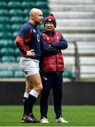 22 February 2020; Willi Heinz, left, with head coach Eddie Jones during the England Rugby Captain's Run at Twickenham Stadium in London, England. Photo by Brendan Moran/Sportsfile