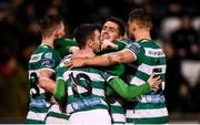 21 February 2020; Shamrock Rovers players, including Dylan Watts, centre, celebrate after Graham Burke scored their sixth goal during the SSE Airtricity League Premier Division match between Shamrock Rovers and Cork City at Tallaght Stadium in Dublin. Photo by Stephen McCarthy/Sportsfile