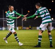 21 February 2020; Graham Burke of Shamrock Rovers celebrates after scoring his side's fifth goal, with team-mate Neil Farrugia, right, during the SSE Airtricity League Premier Division match between Shamrock Rovers and Cork City at Tallaght Stadium in Dublin. Photo by Stephen McCarthy/Sportsfile